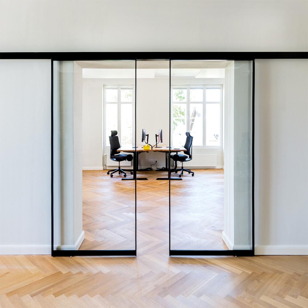 Alurahmen-Schiebetür AR10 Schwarz lackiert GLAS klar Büro Besprechnungsraum
