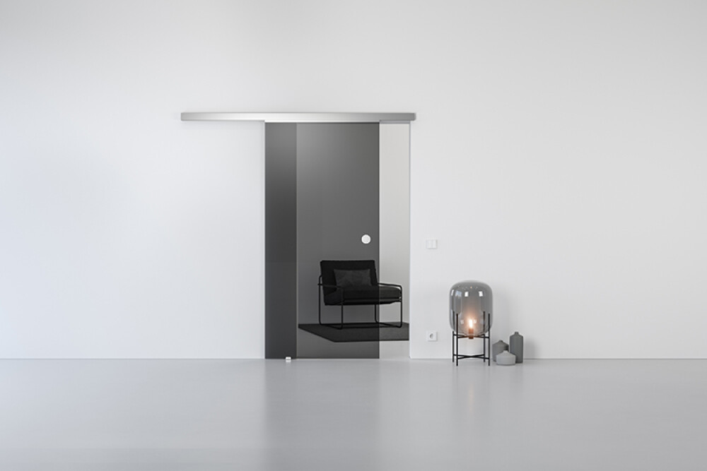 Schiebetür Glas Schiebetürsystem GG00 in GLAS Parsol Grau Durchgangstür