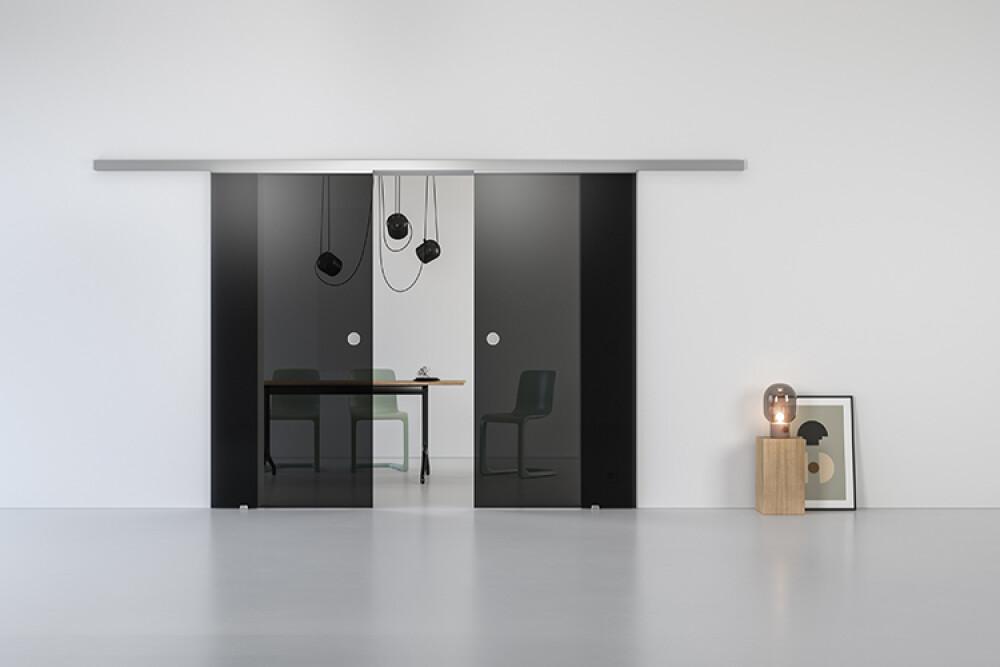 Schiebetür Glas Schiebetürsystem GG00 in GLAS Parsol Grau Dunkel Durchgangstür