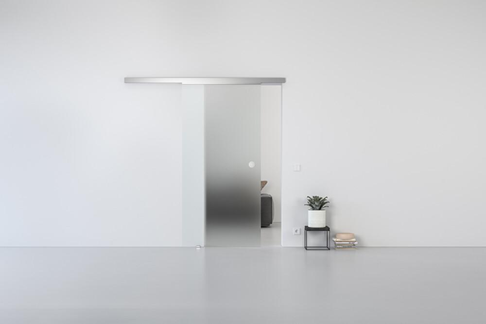 Schiebetür Glas Schiebetürsystem GG00 in GLAS Satinato Durchgangstür